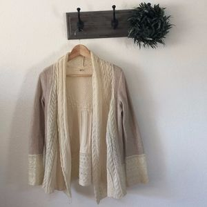Knitted and Knotted Cream Cardigan Sweater SP